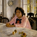 Painting Girl With Peaches by Valentin Berov