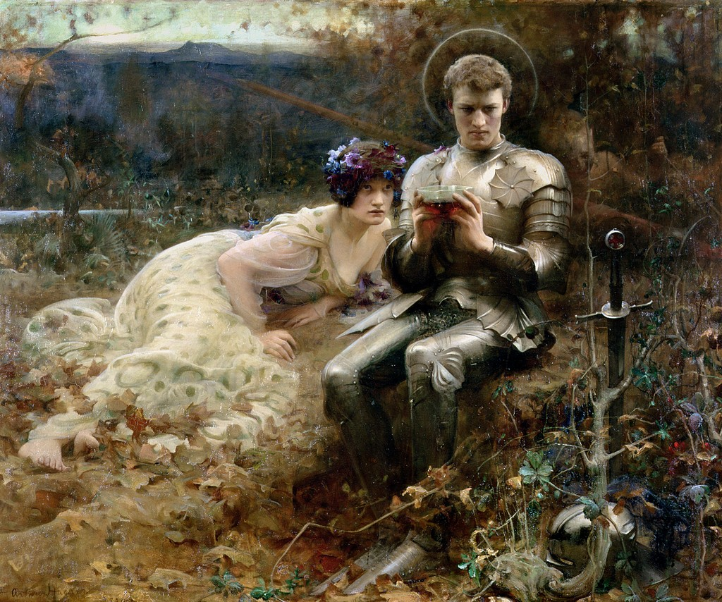 The Temptation of Sir Percival by the English Classicist painterArthur Hacker
